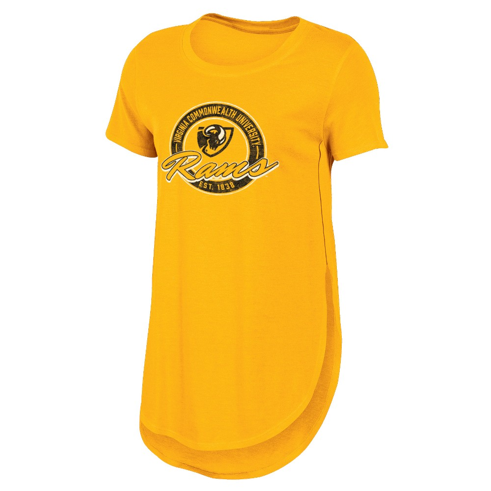 Vcu Rams Women's Heathered Crew Neck Tunic T-Shirt - L, Multicolored