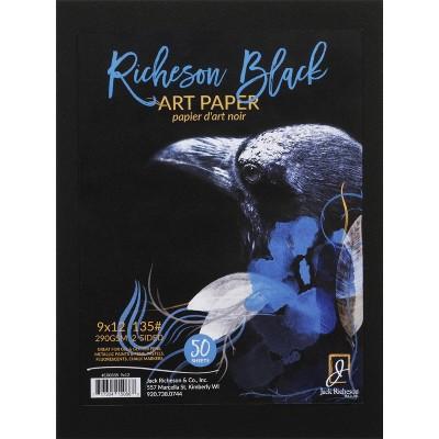 Jack Richeson Black Art Paper, 9 x 12 Inches, 135 lb, 50 Sheets