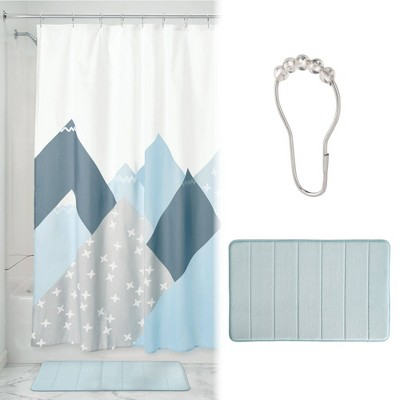 Mountain Shower Curtain with Memory Foam Mat and Ring Bundle Blue/White - iDESIGN