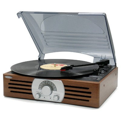 Jensen 3-Speed Stereo Turntable with AM/FM Stereo Radio - Brown (JTA-222)