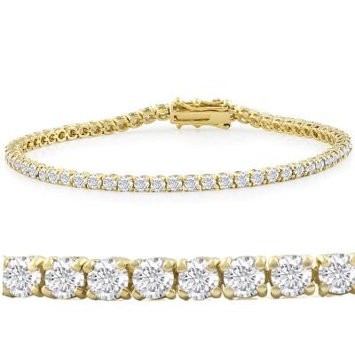 "Pompeii3 6ct Moissanite Tennis Bracelet 18K Yellow Gold 7"""