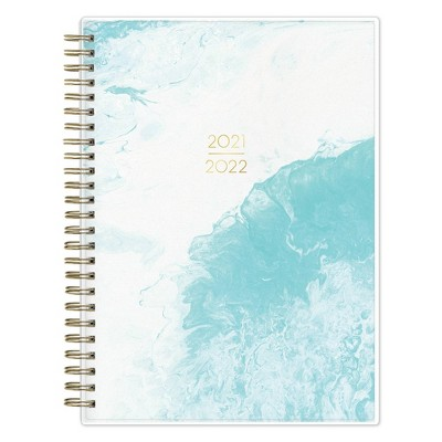 """2021-22 Academic Planner Notes 5.875"""" x 8.625"""" Flexible Plastic Cover Weekly/Monthly Wirebound Marb Aqua - May Designs"""