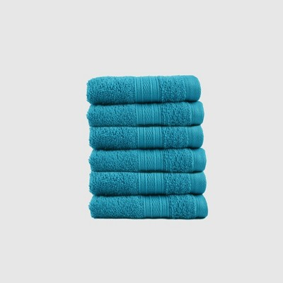6pc Feather Touch Cotton Washcloth Set Teal - Trident Group