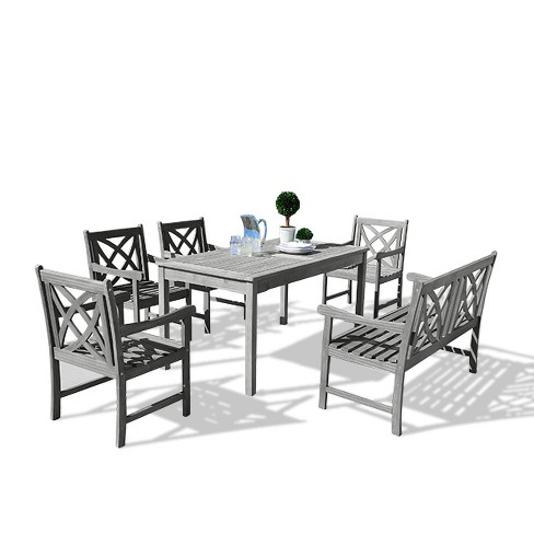 Vifah Renaissance Eco-friendly 6-Piece Outdoor Hand-scraped Dining Set with Rectangle Table, 4' Bench and Arm Chairs - Gray - image 1 of 7