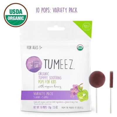 Tumeez Organic Grape & Apple Children's Tummy Soothing Pops With Honey - 10ct