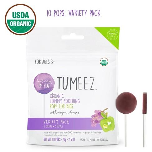 Tumeez Organic Grape & Apple Children's Tummy Soothing Pops With Honey - 10ct - image 1 of 4
