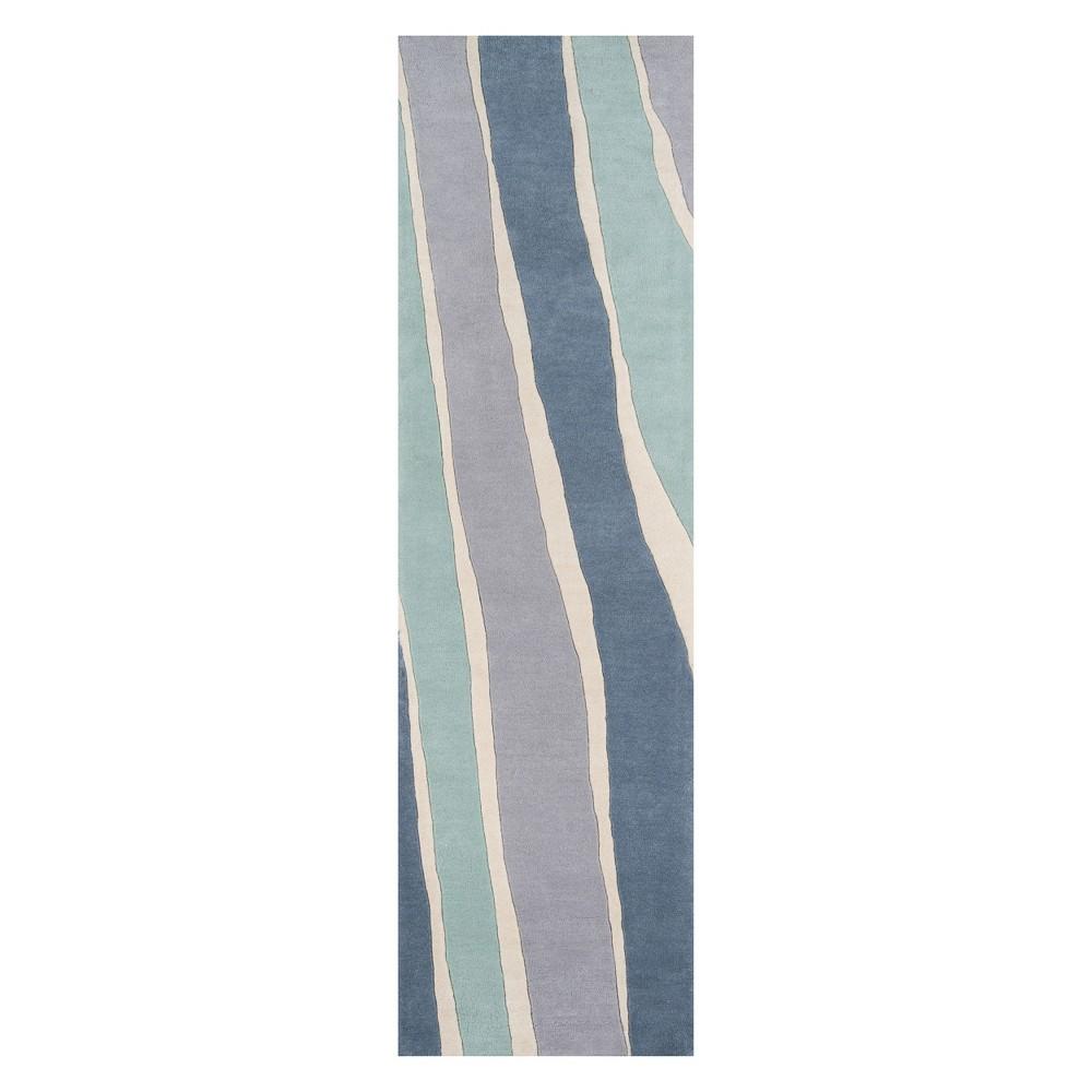 Image of 2'3X8' Wave Tufted Runner Blue - Novogratz By Momeni