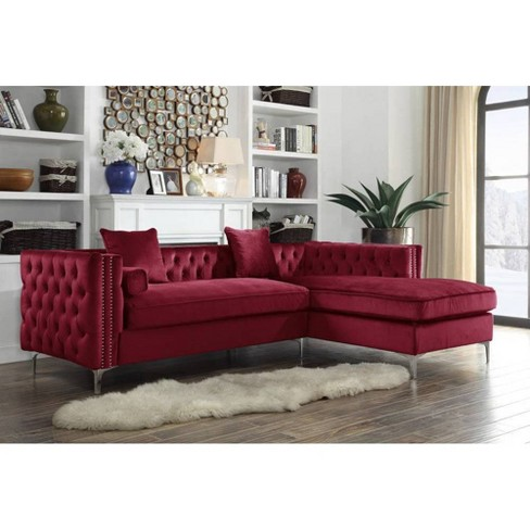 Monet Right Facing Sectional Sofa Red