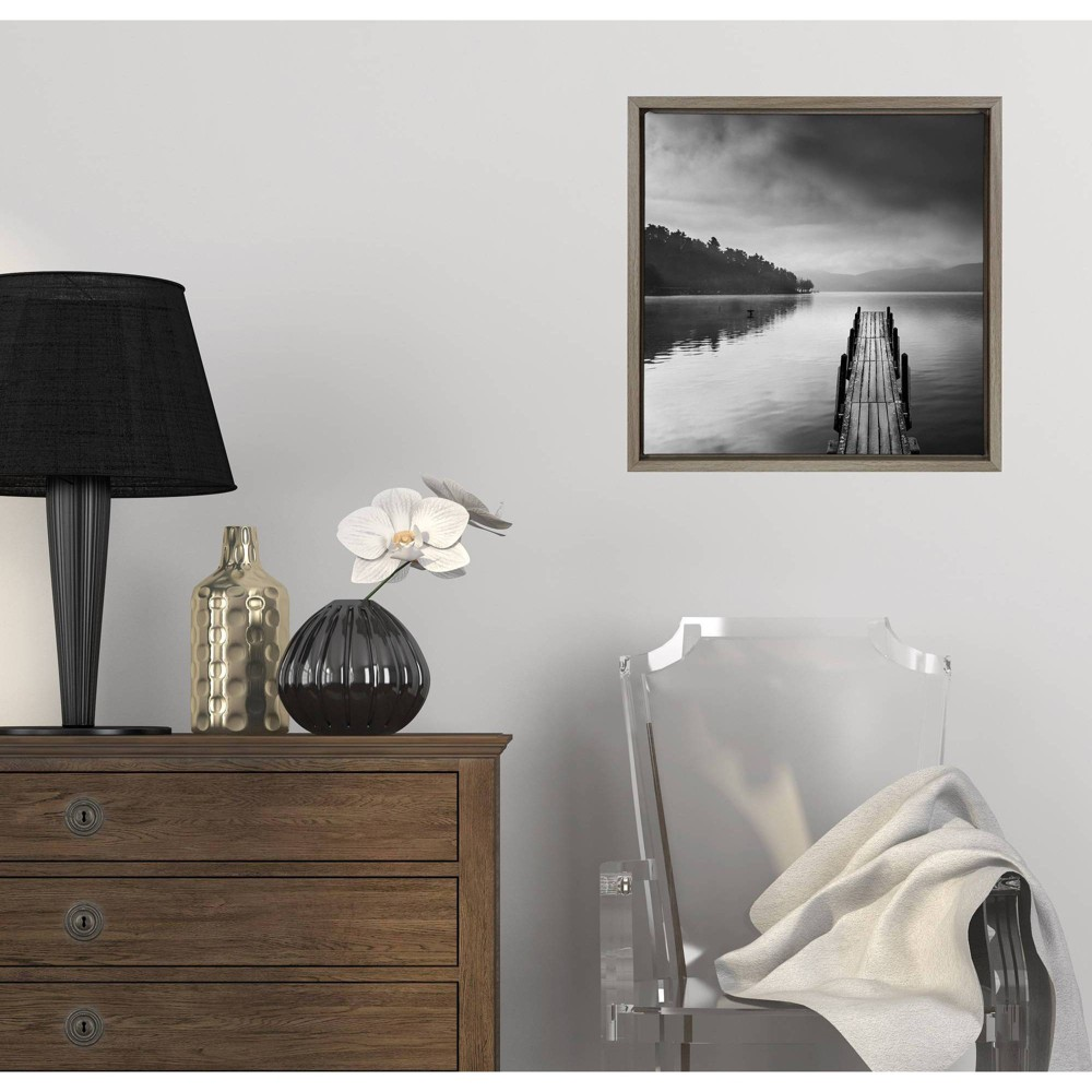 """Image of """"16"""""""" x 16"""""""" Lake view with Pier II by George Digalakis Framed Wall Canvas Gray - Amanti Art"""""""