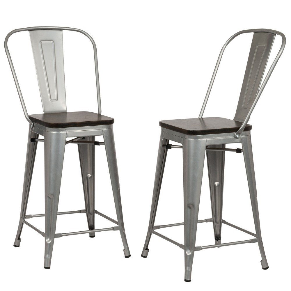 "Image of ""24"""" Reed Wood Seat Counter Stool Set of 2 Silver - Carolina Chair and Table"""