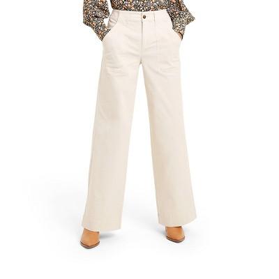 Women's High-Rise Wide Leg Cargo Pants - Nili Lotan x Target Cream