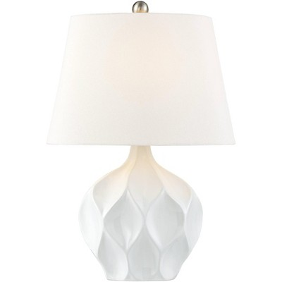 360 Lighting Modern Accent Table Lamp White Ceramic Tapered Drum Shade for Living Room Bedroom Bedside Nightstand Office Family