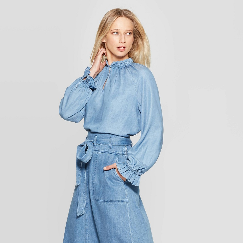 Women's Long Blouson Sleeve Crewneck Top - Who What Wear Blue XL