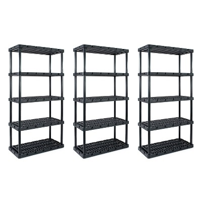 Gracious Living Knect A Shelf Heavy Duty Storage 5 Tier Shelving Unit (3 Pack)
