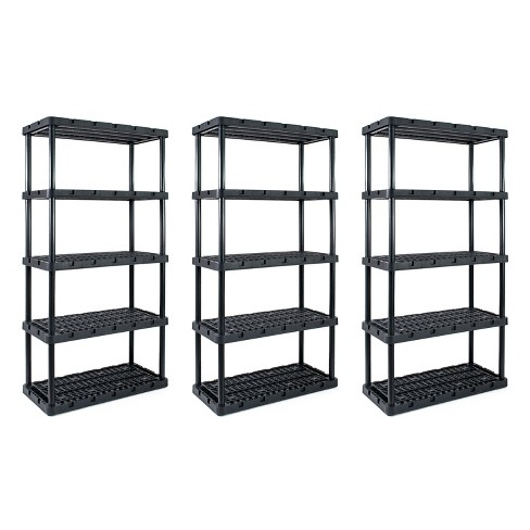 Gracious Living Knect A Shelf 72 Inch 5 Shelf Heavy Duty Interlocking Adjustable Ventilated Storage Shelving Unit Holds up to 200 Pounds (3 Pack) - image 1 of 4