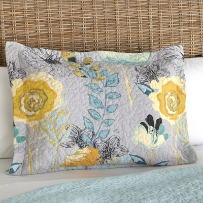 Lakeside Floral Watercolor Gray Quilted Pillow Sham with Vermicelli Stitch