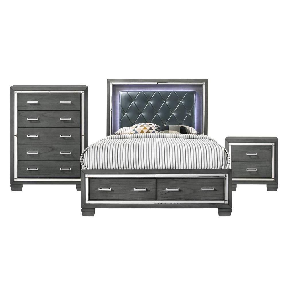 Image of 3pc Queen Kenzie Storage Bedroom Set Gray - Picket House Furnishings