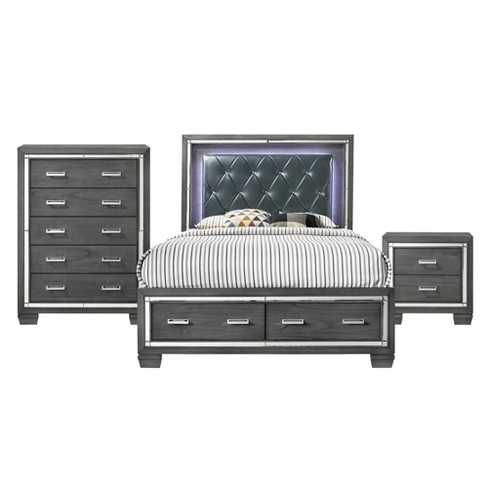 3pc Kenzie Storage Bedroom Set Gray - Picket House Furnishings