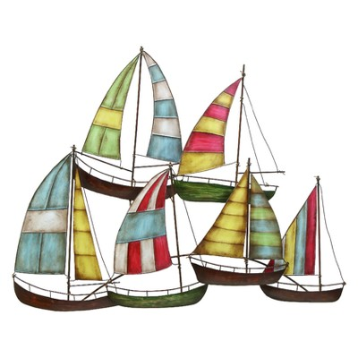 Metal Sailing Boat Decorative Wall Art 26 X 33 - Olivia & May