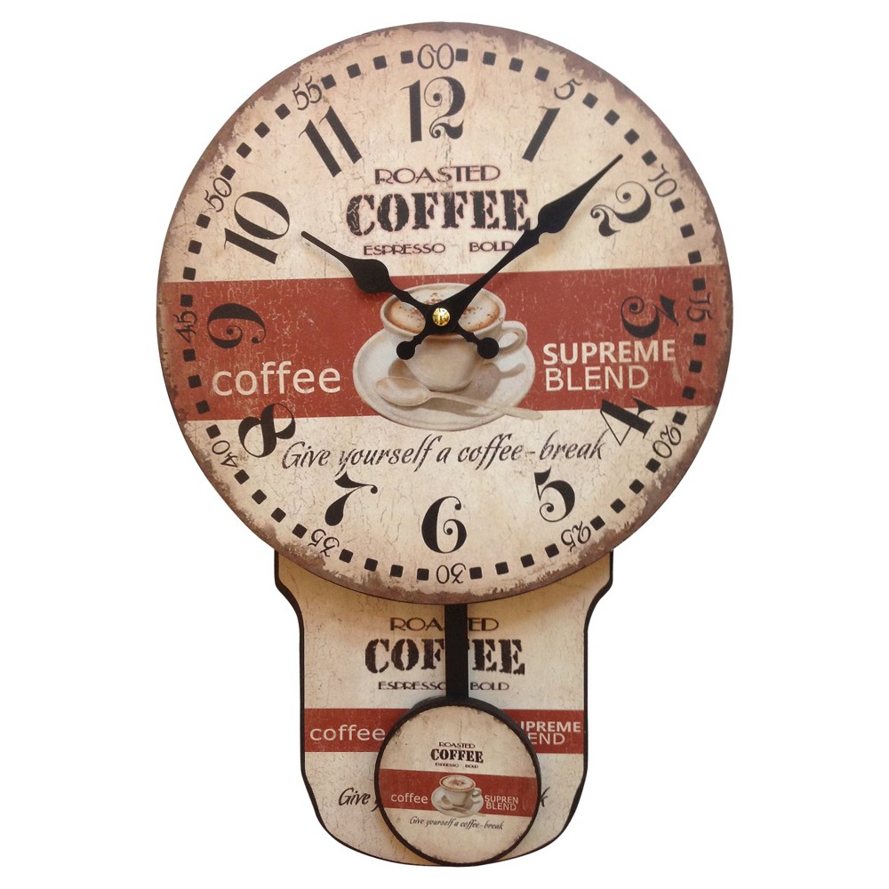 Coffee Wall Clock with Pendulum Beige/Red - Creative Motion Industries