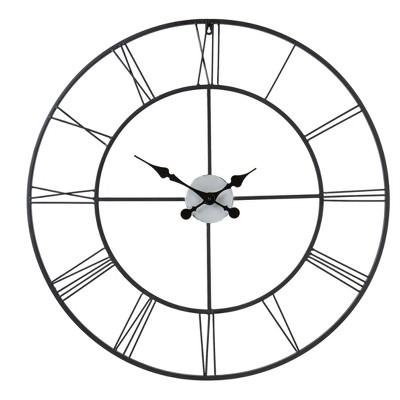 Roman Decorative Wall Clock - Black w/ Silver - Aiden Lane