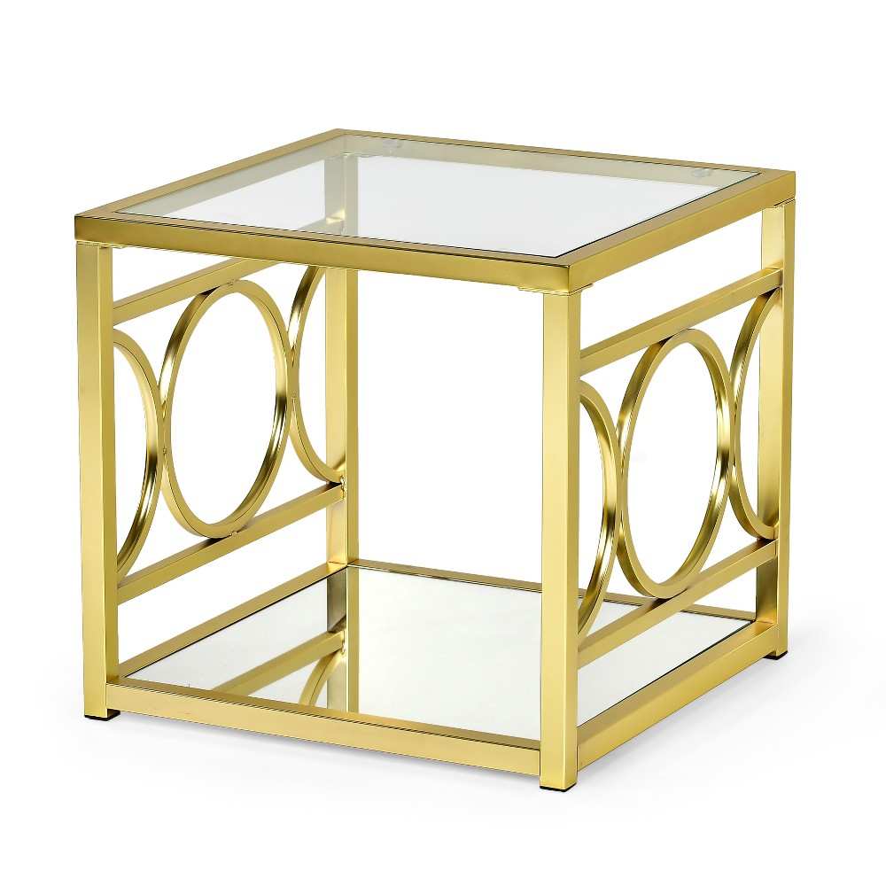 Olympia End Table Glass Iron and Chrome - Steve Silver, Gold