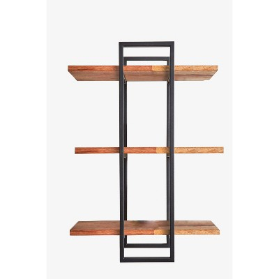"32"" Rectangle Wood Shelving Wall Display Black - Ore International"