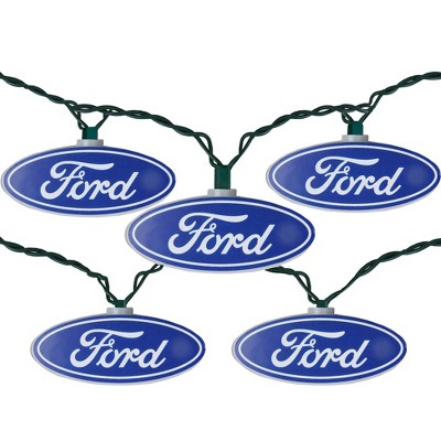 Northlight 10ct Ford Logo Novelty Christmas Lights Blue - 12' Green Wire