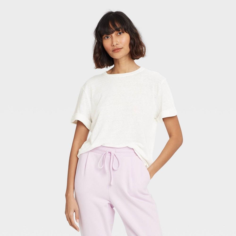 Women 39 S Short Sleeve Linen T Shirt A New Day 8482 White S