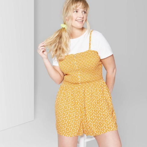 Women\'s Plus Size Floral Print Strappy Square Neck Button Front Smocked  Romper - Wild Fable™ Orange Trick/Almond Cream