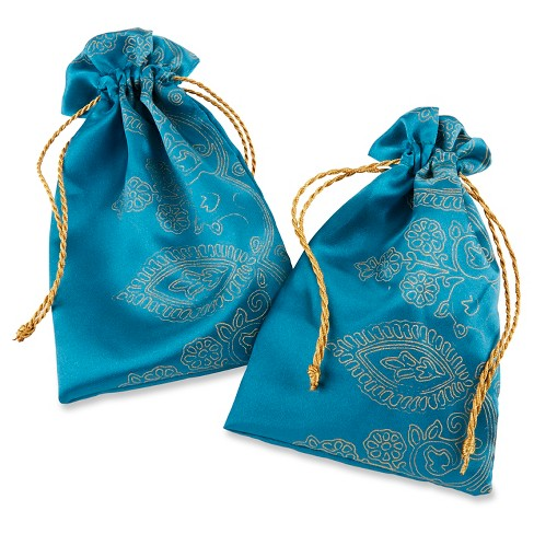 12ct Sapphire Jewel Favor Bags - Blue/Gold - image 1 of 2