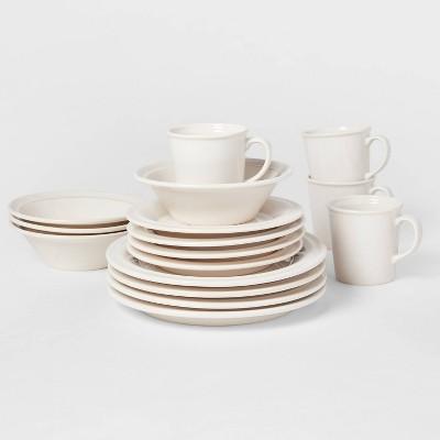 16pc Porcelain Woodbridge Dinnerware Set White - Threshold™