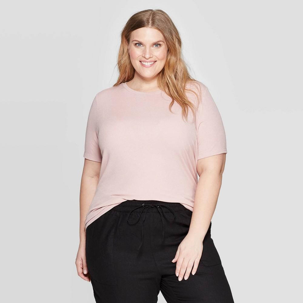 Women's Plus Size Short Sleeve Crewneck Rib T-Shirt - Ava & Viv Pink 3X
