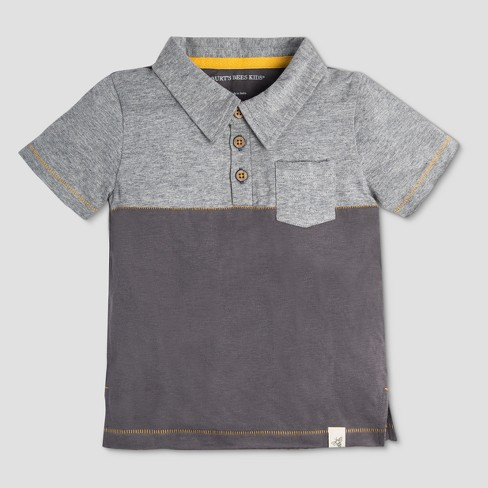 96c93ea77 Burt's Bees Baby Toddler Boys' Organic Cotton Pocket Short Sleeve Polo Shirt  - Slate