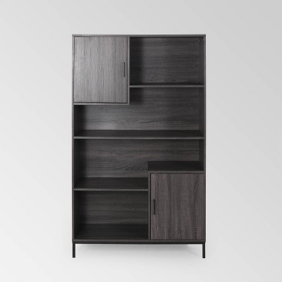 "64.5"" Frankford Contemporary Cube Unit Bookcase Dark Gray - Christopher Knight Home"
