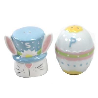 "Tabletop 2.25"" Bright Easter Salt & Pepper Shakers Bunny Egg Transpac  -  Salt And Pepper Shaker Sets"