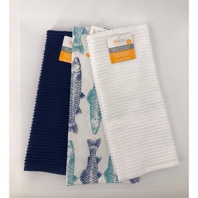 3pk Designer Fish Print Kitchen Towels - MU Kitchen