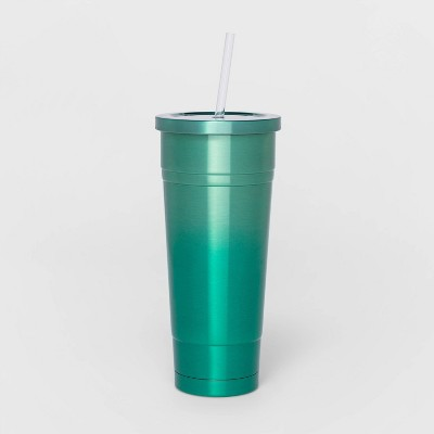 25oz Stainless Steel Double Wall Tumbler with Straw Ombre Green - Sun Squad™