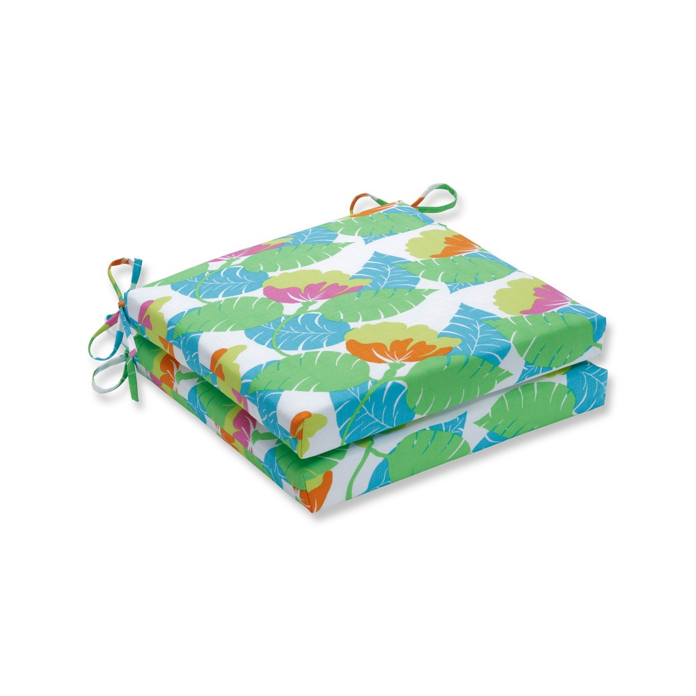 Avia Indoor/Outdoor Squared Corners Seat Cushion 2pc - Pillow Perfect, Multi-Colored