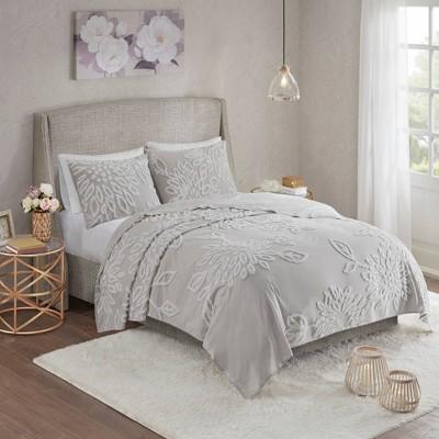 Danica 3pc Tufted Cotton Chenille Floral Coverlet Set Gray/White