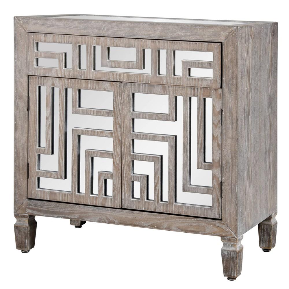 Image of 1 Drawer Wooden Cabinet with Mirror Design Gray/Whitewash - Stylecraft