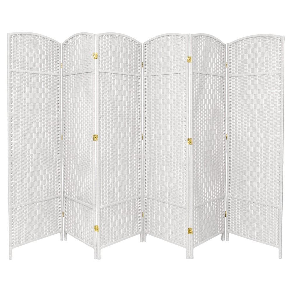 6 ft. Tall Diamond Weave Fiber Room Divider - White (6 Panels)
