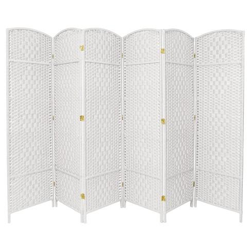 Tall Diamond Weave Fiber Room Divider 6 Panels Oriental Furniture
