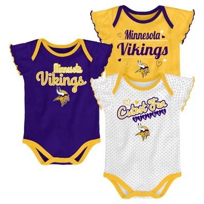 Minnesota Vikings Girls' Newest Fan 3pk Bodysuit Set 0-3 M