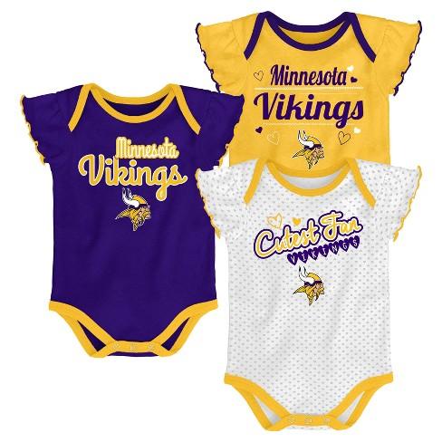 NFL Minnesota Vikings Girls  Newest Fan 3pk Bodysuit Set   Target b2ff8a558