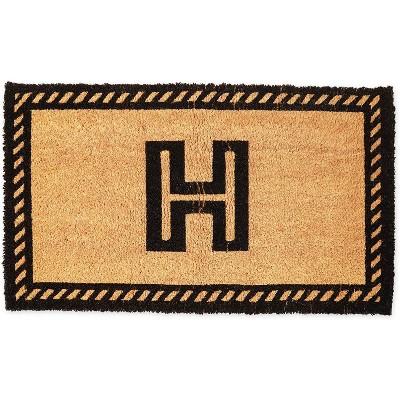 Monogrammed Door Mat with Letter H, Nonslip Coir Welcome Mat (17 x 30 Inches)