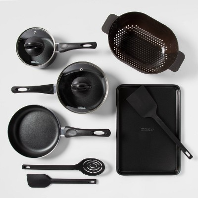 10pc Aluminum Nonstick Cookware Set Black - Room Essentials™