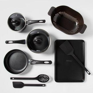 10pc Aluminum Nonstick Cookware Set Black - Room Essentials™