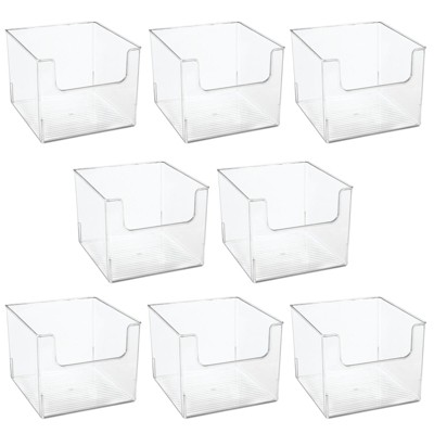 mDesign Plastic Closet Home Storage Organizer Cube Bin Container, 8 Pack - Clear