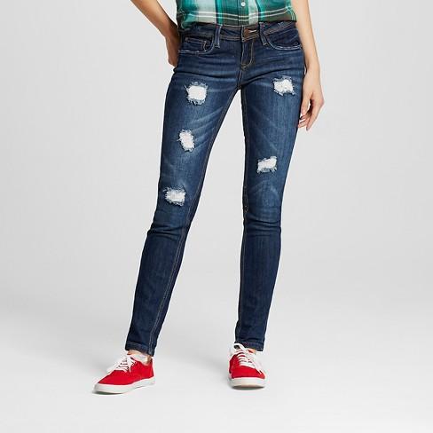7e545c22e3d Women s Exposed Button Crop Jeans Beckham Denim Blue 13 - Dollhouse (Juniors )    Target